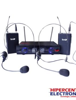 Sistema inalámbrico con micrófono doble de diadema con frecuencia UHF