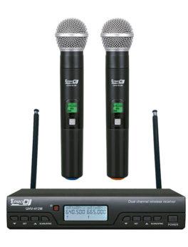 micrófono inalámbrico doble de mano para voz UHV-412M Pro Dj