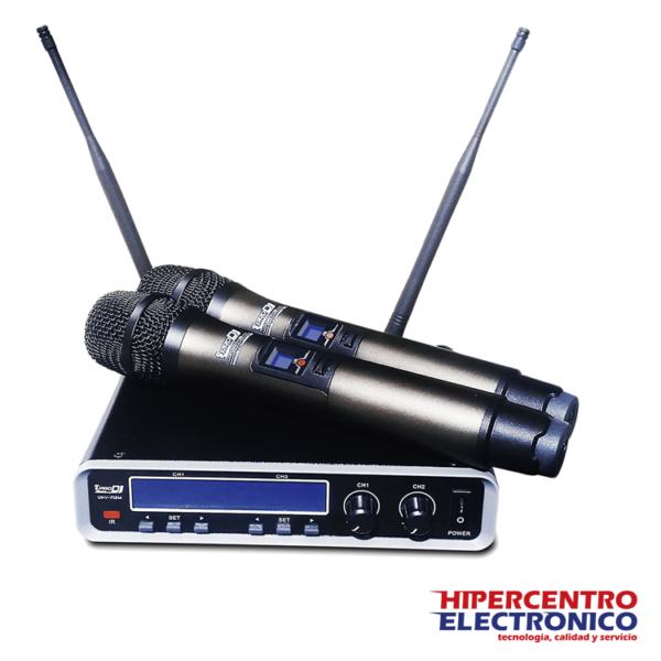 Micrófono inalámbrico doble de mano vocal Pro Dj UHV712M