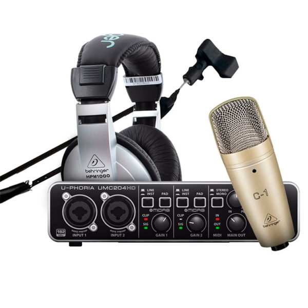 Hipercentro Electronico combo kit podcast estudio grabacion microfono c1 audifinos hpm1000 interfaz umc204hd tripode base rp1 behringer prodj