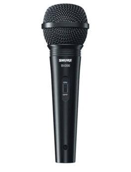 Hipercentro Electronico microfono cardioide alambrico SHURE SV200 Profesional