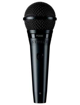Hipercentro Electronico micrófono profesional alámbrico de mano para voz principal y coros eventos conferencias SHURE PGA58 negro