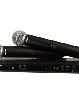 Hipercentro Electronico micrófono inalámbrico doble profesional de alta frecuencia SHURE BLX288/SM58
