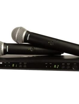 Hipercentro Electronico microfono de mano inalambrico doble profesional eventos conciertos conferencias SHURE BLX288/PG58