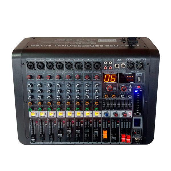 Hipercentro Electronico consola análoga pasiva de 8 canales con USB, bluetooth PROAUDIO MIX-8