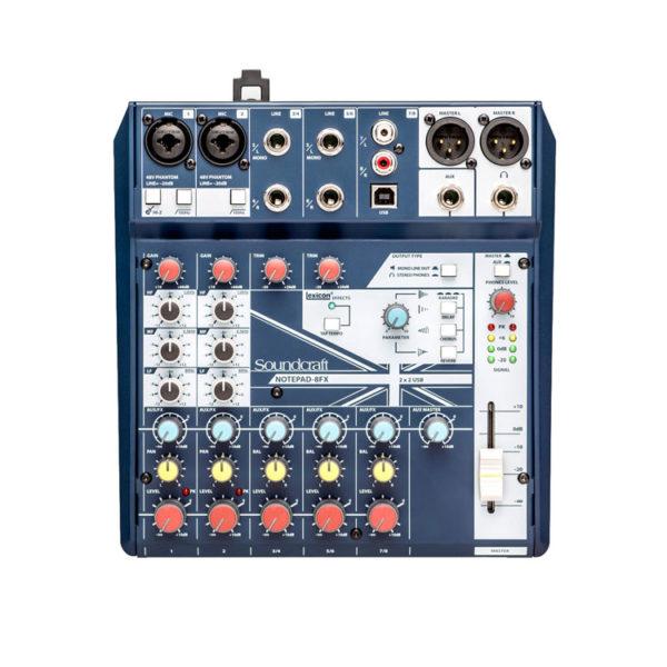 Hipercentro Electronico consola análoga de 2 canales con interfaz SOUNDCRAFT NOTEPAD8-FX