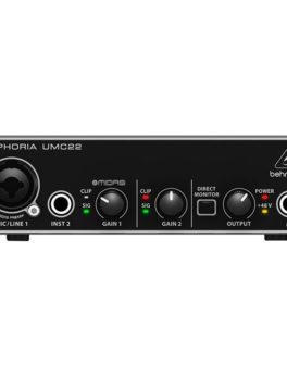 Hipercentro Electronico interfaz de audio usb 2 entradas 2 salidas UMC22 Behringer