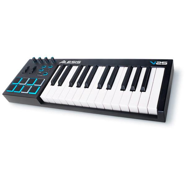 Hipercentro Electronico teclado controlador MIDI para producción musical ALESIS V25