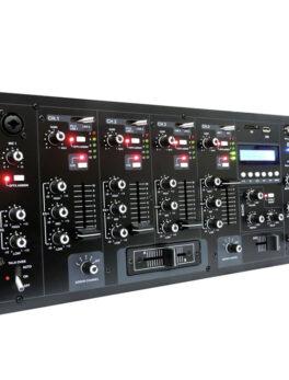 Hipercentro Electronico mezclador de 4 canales con conexión bluetooth y ganancia por canal PROAUDIO DJ-400BT