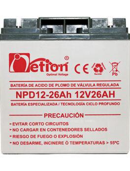 Hipercentro Electronico batería ciclo profundo libre de mantenimiento NETION 12V 26AH