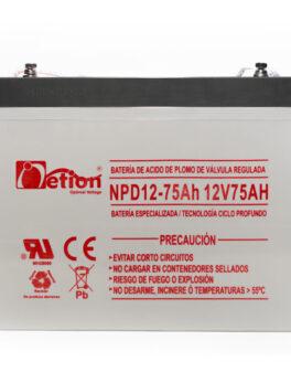 Hipercentro Electronico batería ciclo profundo libre de mantenimiento NETION 12V 75AH