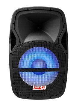 Hipercentro Electronico cabina activa de 15 pulgadas con luces led PRODJ PB12C MP3 LED