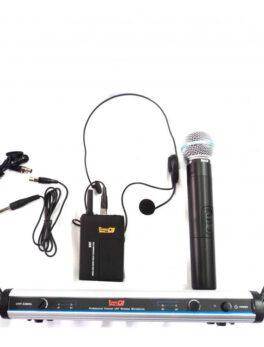 Hipercentro Electronico combo de micrófono inalambrico diadema, solapa y mano PRODJ UHF 22MHL