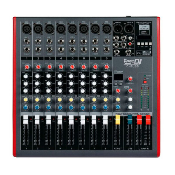 Hipercentro Electronico consola analoga de 8 canales con bluetooth, usb y efectos PRODJ CH8