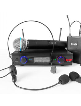 Hipercentro Electronico kit de micrófono inalambrico con diadema, solapa y manual PRODJ UHF32MHL