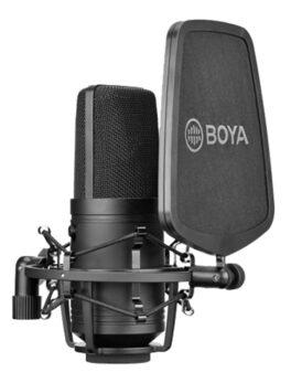 Hipercentro Electrónico micrófono condensador cardioide grabación estudio voz instrumentos phantom power BY-M800 Boya-Side1